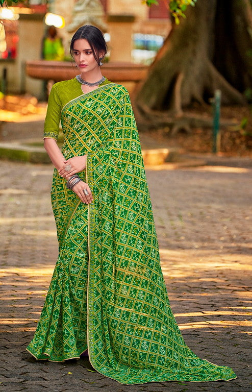 Shades of Green Color Georgette Casual Wear Saree-  Orchid Collection  YF#11509