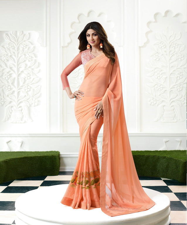 Peach Color Unique Fancy Fabric Party Wear Saree-  Gracia Collection YF#10633