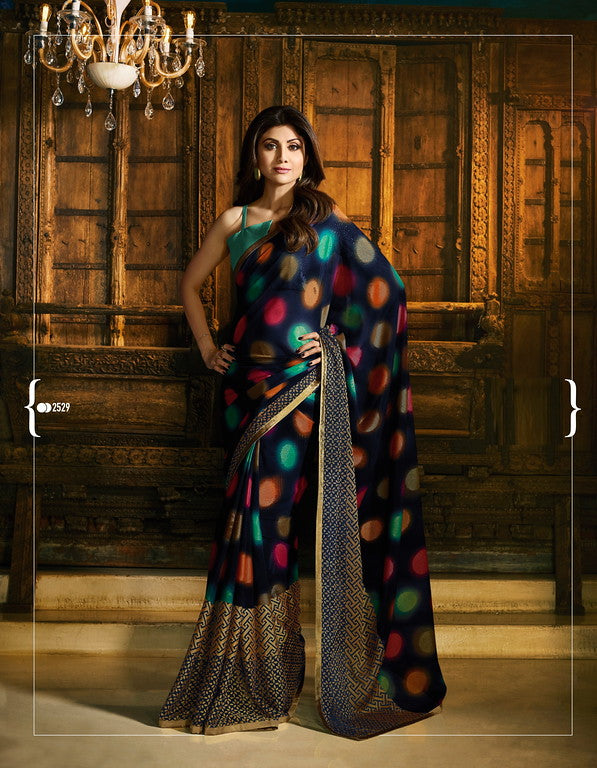 Multi Color Unique Fancy Fabric Party Wear Saree-  Gracia Collection YF#10638