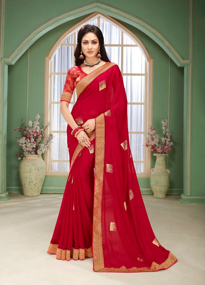 Red Color Chiffon Kitty party wear Saree   Aliha Collection   YF#11625