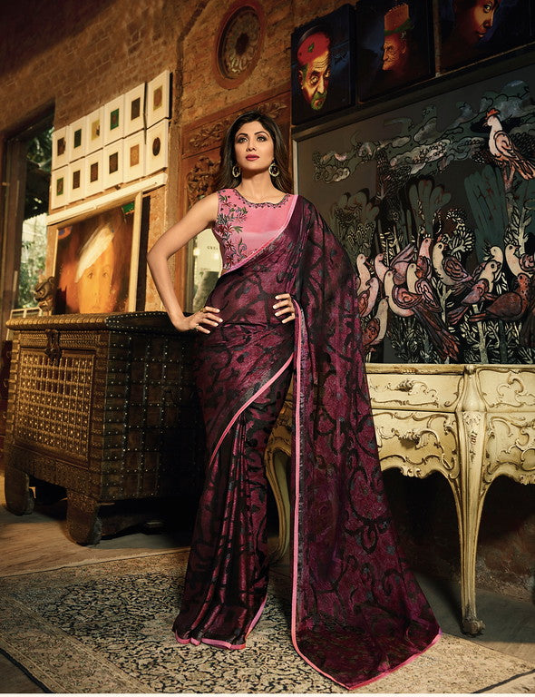 Black and wine Color Unique Fancy Fabric Party Wear Saree-  Gracia Collection YF#10646
