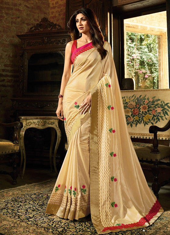 Cream, Gold and Pink Color Unique Fancy Fabric Party Wear Saree-  Gracia Collection YF#10647