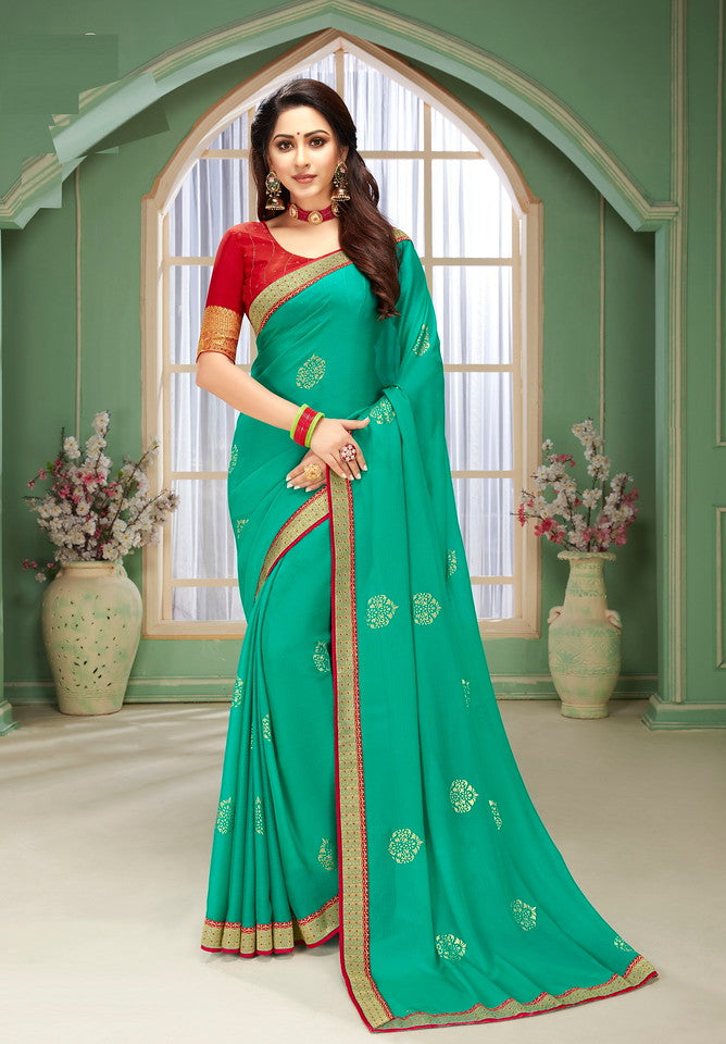 Sea Green and Red Color Chiffon Kitty party wear Saree  Aliha Collection   YF#11634