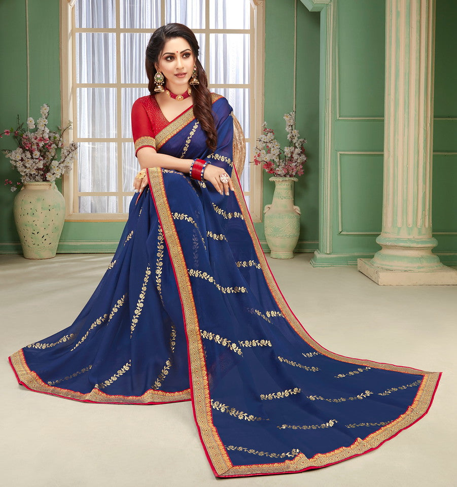 Blue and Red Color Chiffon Kitty party wear Saree  Aliha Collection   YF#11635