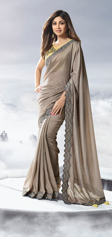 Dusty Grey Color Unique Fancy Fabric Party Wear Saree-  Gracia Collection YF#10657