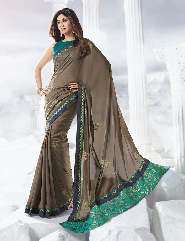 Espresso Brown Color Unique Fancy Fabric Party Wear Saree-  Gracia Collection YF#10659