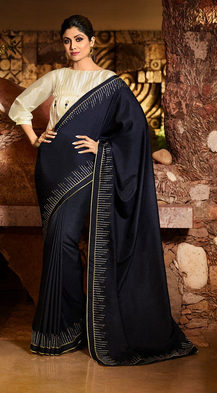 Navy Blue Color Unique Fancy Fabric Party Wear Saree-  Gracia Collection YF#10663