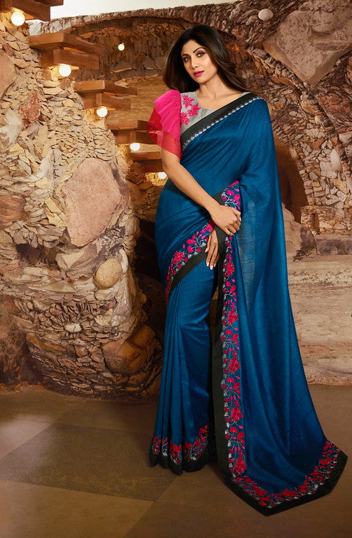 Metallic Blue and Pink Color Unique Fancy Fabric Party Wear Saree-  Gracia Collection YF#10667