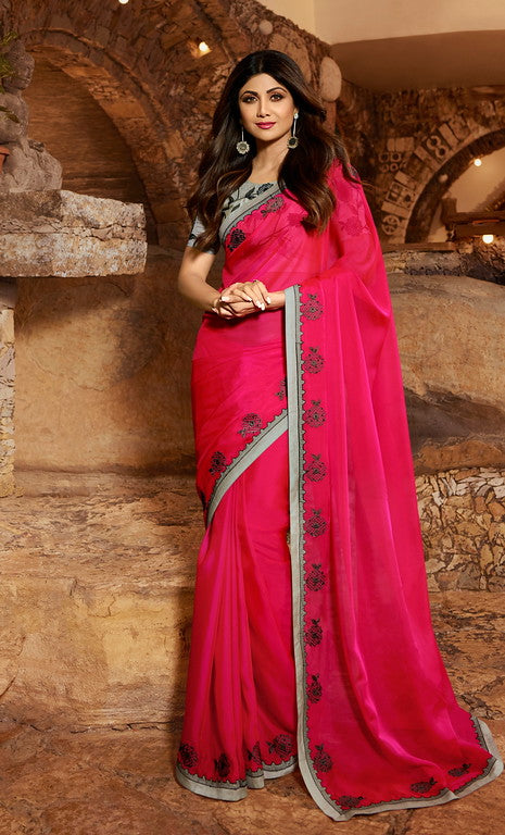 Pink and Grey Color Unique Fancy Fabric Party Wear Saree-  Gracia Collection YF#10668