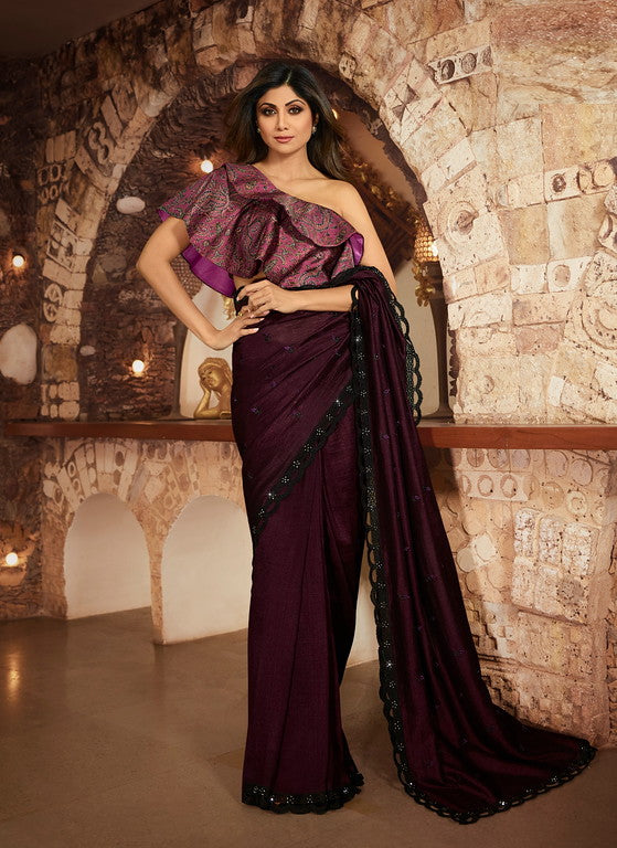 Wine Color Unique Fancy Fabric Party Wear Saree-  Gracia Collection YF#10669