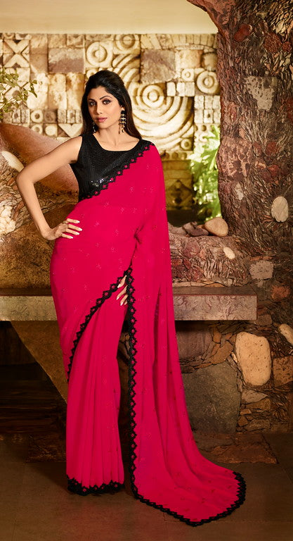 Hot Pink Color Unique Fancy Fabric Party Wear Saree-  Gracia Collection YF#10671