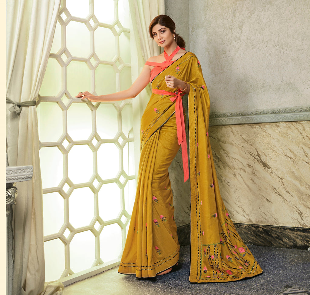 Mustard Color Fancy Fabric Party wear Saree - Zahira Collection YF#10264