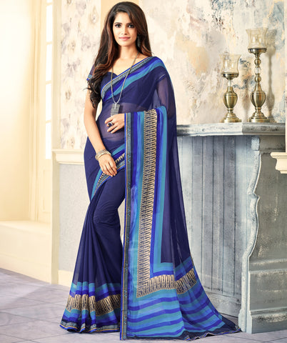 Blue Color Wrinkle Chiffon Kitty Party Sarees : Swini Collection YF-70435