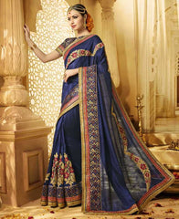 Blue Color Raw Silk Designer Wedding Function Sarees : Saptapadi Collection  YF-52089