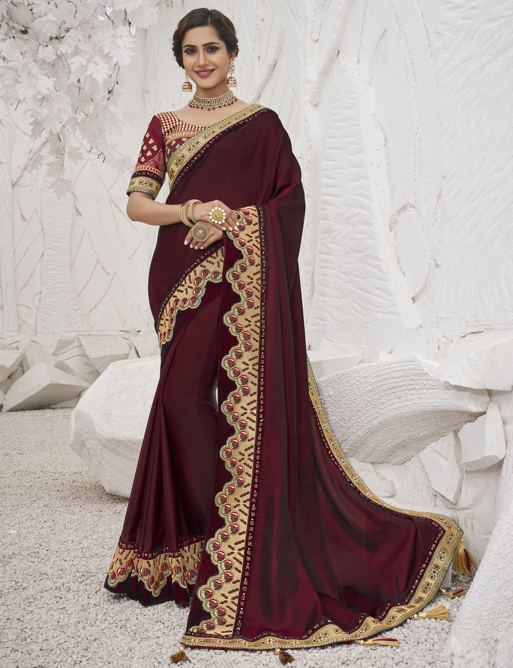 Maroon Color Two Tone Silk Exquisite Party Wear Sarees : NYF-6153