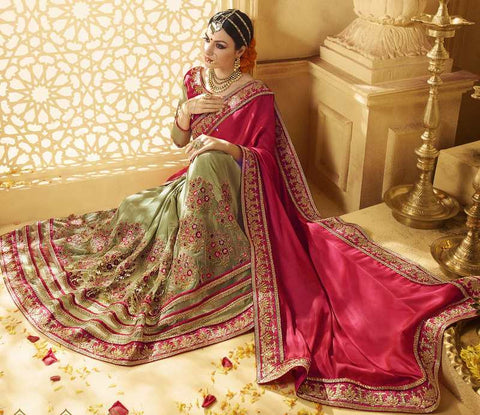 Pastel Green & Pink Color Half Raw Silk & Net & Half Crepe Designer Wedding Function Sarees : Saptapadi Collection  YF-52090