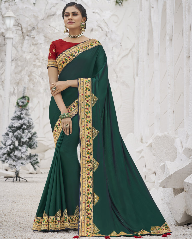 Green Color Two Tone Silk Exquisite Party Wear Sarees : NYF-6154