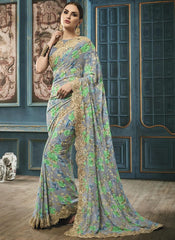 Grey Color Georgette Party Wear Sarees : Riona Collection  YF-50573