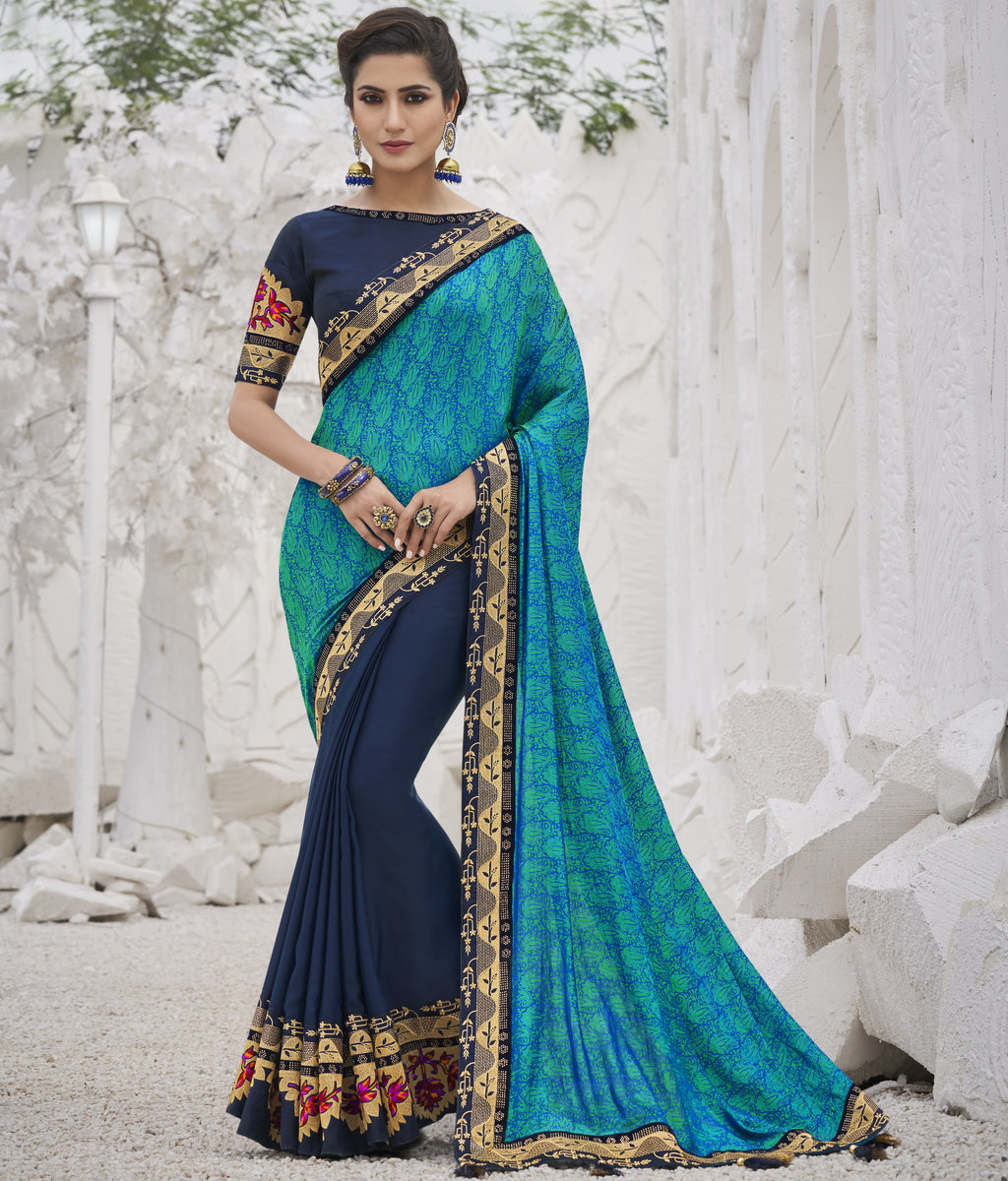 Firozi & Blue Color Two Tone Silk Exquisite Party Wear Sarees : NYF-6155