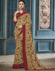 Yellow & Maroon Color Georgette Party Wear Sarees : Riona Collection  YF-50574