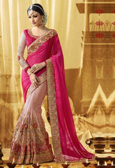 Baby Pink & Rani Pink Color Half Net & Half Georgette Designer Wedding Function Sarees : Saptapadi Collection  YF-52092