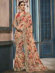 Cream & Orange Color Georgette Party Wear Sarees : Riona Collection  YF-50575