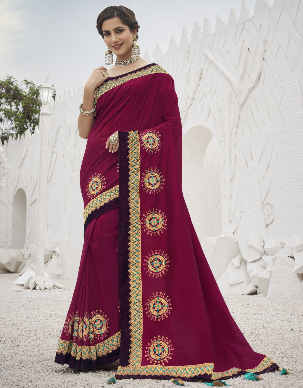 Magenta Color Two Tone Silk Exquisite Party Wear Sarees : NYF-6156