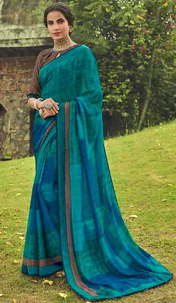 Shades of Blue Color Georgette Casual Wear Saree-  Orchid Collection  YF#11512