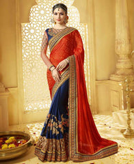Blue & Red Color Half Crepe & Half Brasso Designer Wedding Function Sarees : Saptapadi Collection  YF-52093