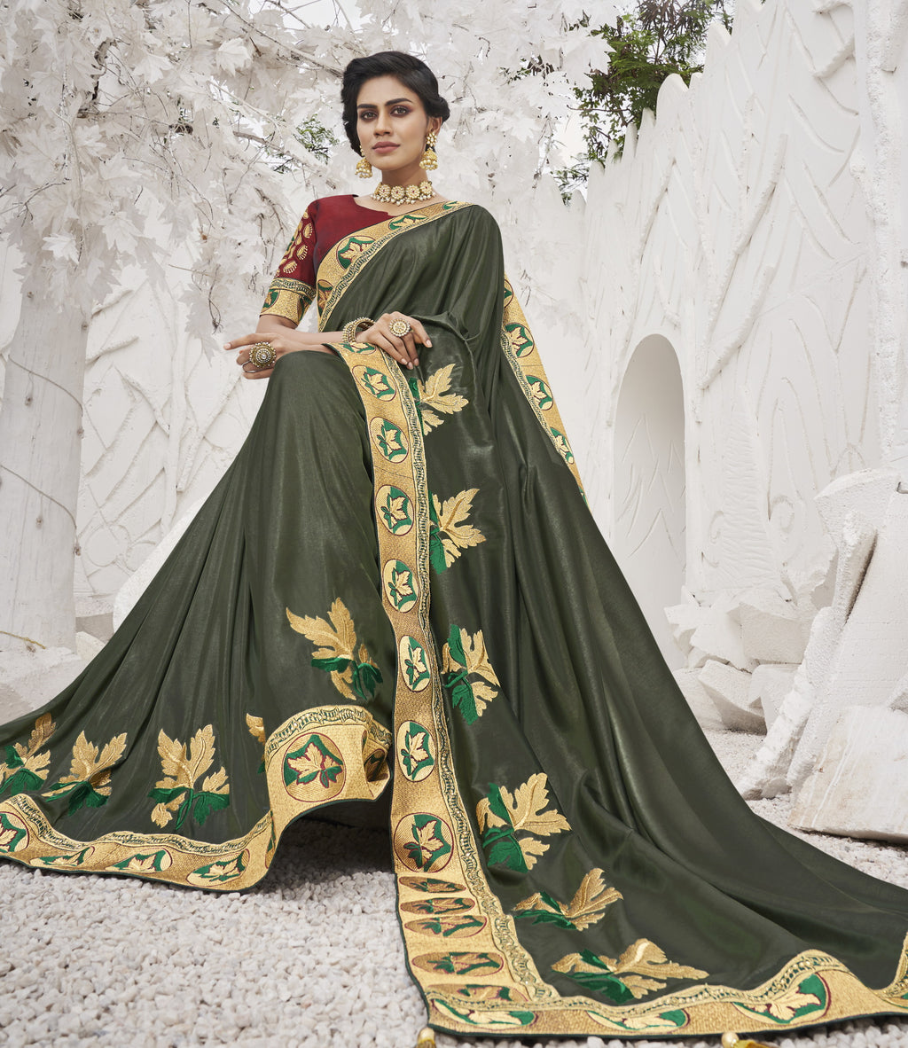 Olive Green Color Two Tone Silk Exquisite Party Wear Sarees : NYF-6157