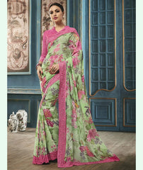 Pastel Green & Pink Color Georgette Party Wear Sarees : Riona Collection  YF-50576