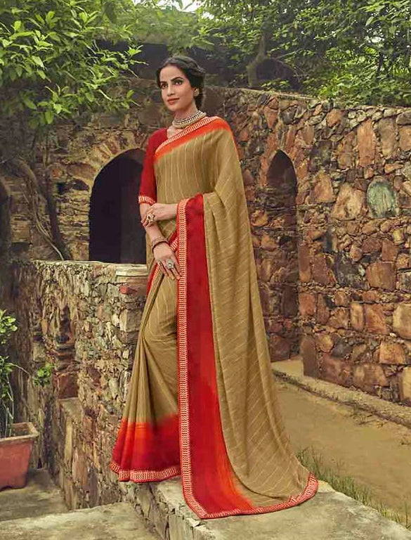 Beige and Red Color Georgette Casual Wear Saree-  Orchid Collection  YF#11513