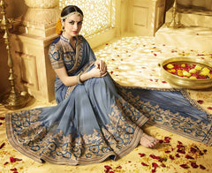 Grey Color Georgette Designer Wedding Function Sarees : Saptapadi Collection  YF-52094