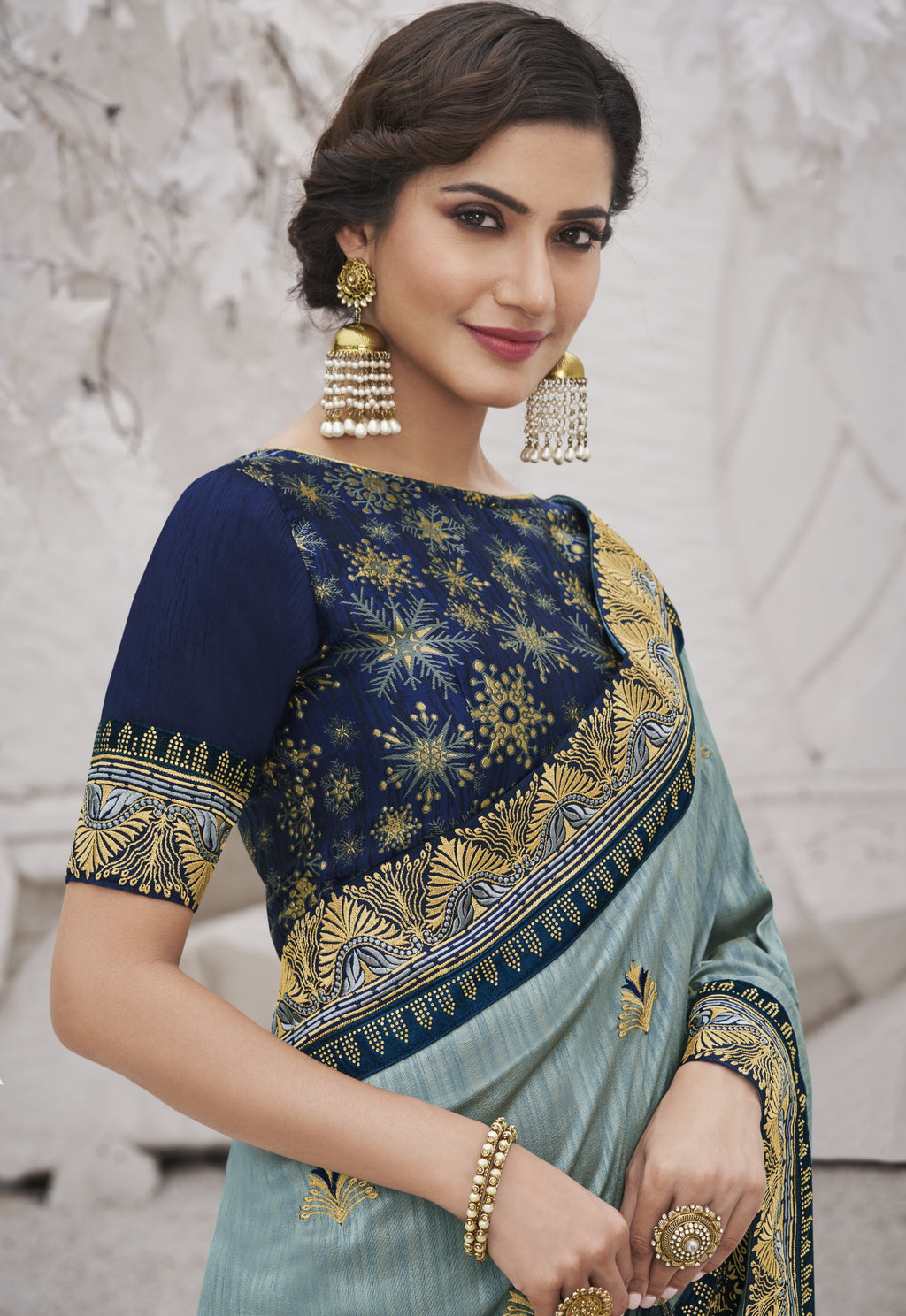 Grey Color Two Tone Silk Exquisite Party Wear Sarees : NYF-6158