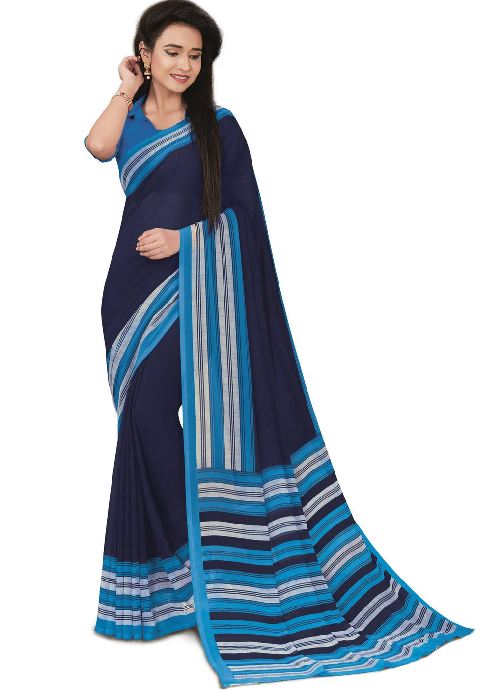 Blue Color Bember Georgette Printed Office Wear Sarees NYF-7647
