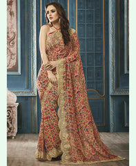 Light Brown & Red Color Georgette Party Wear Sarees : Riona Collection  YF-50577