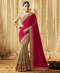 Light Coffee & Pink Color Raw Silk Designer Wedding Function Sarees : Saptapadi Collection  YF-52095