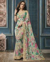 Light Coffee & Green Color Georgette Party Wear Sarees : Riona Collection  YF-50578