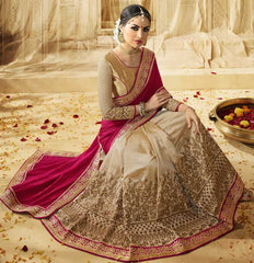 Light Coffee & Pink Color Half Raw Silk & Half Shimmer Georgette Foil Designer Wedding Function Sarees : Saptapadi Collection  YF-52095