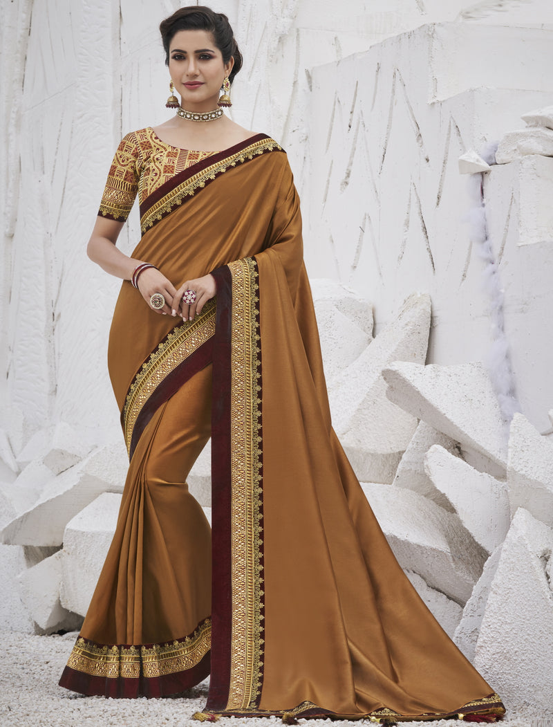 Coffee Color Two Tone Silk Exquisite Party Wear Sarees : NYF-6159