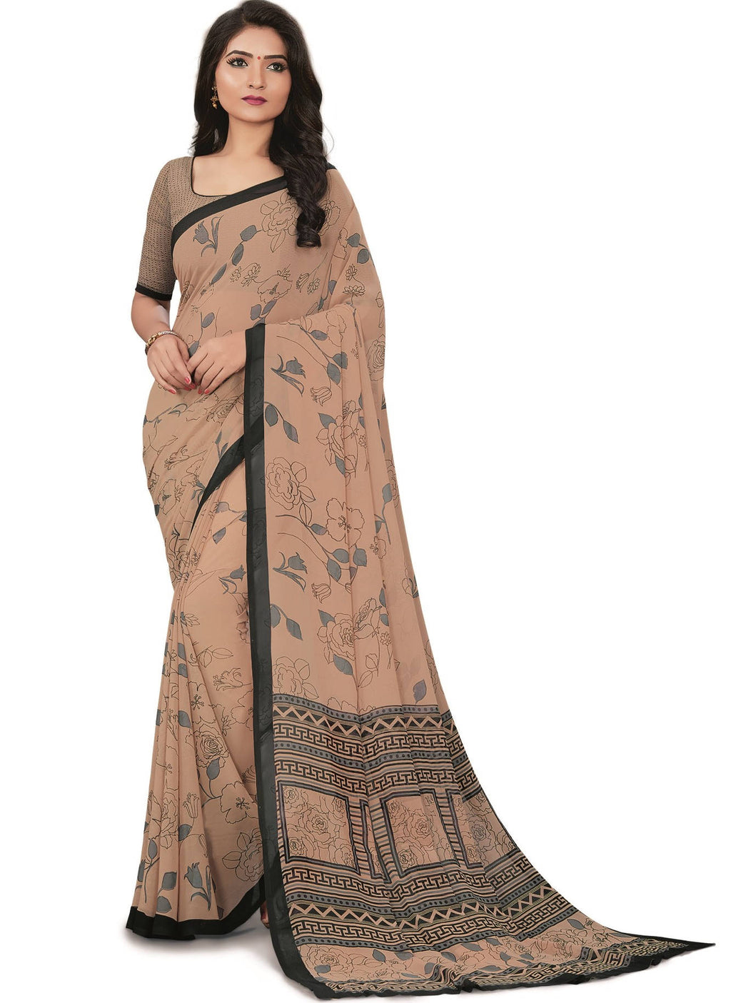 Light Coffee Color Bember Georgette Printed Office Wear Sarees NYF-7648