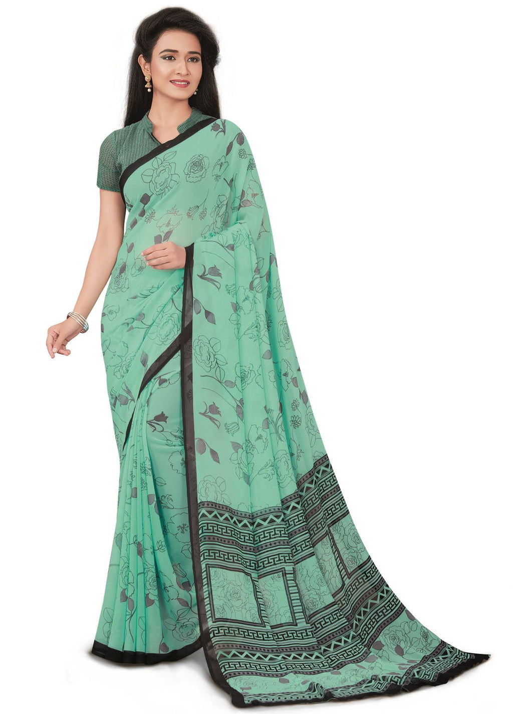 Aqua Green Color Bember Georgette Printed Office Wear Sarees NYF-7649
