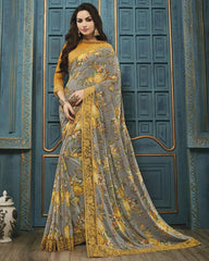 Grey Color Georgette Party Wear Sarees : Riona Collection  YF-50579