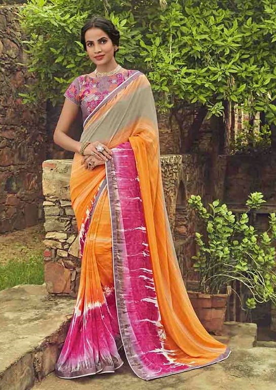 Multi Color Georgette Casual Wear Saree-  Orchid Collection  YF#11516