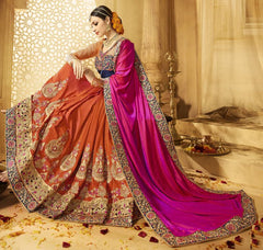 Orange & Pink Color Crush Designer Wedding Function Sarees : Saptapadi Collection  YF-52097