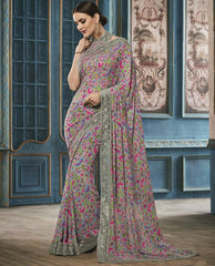 Grey & Pink Color Georgette Party Wear Sarees : Riona Collection  YF-50580