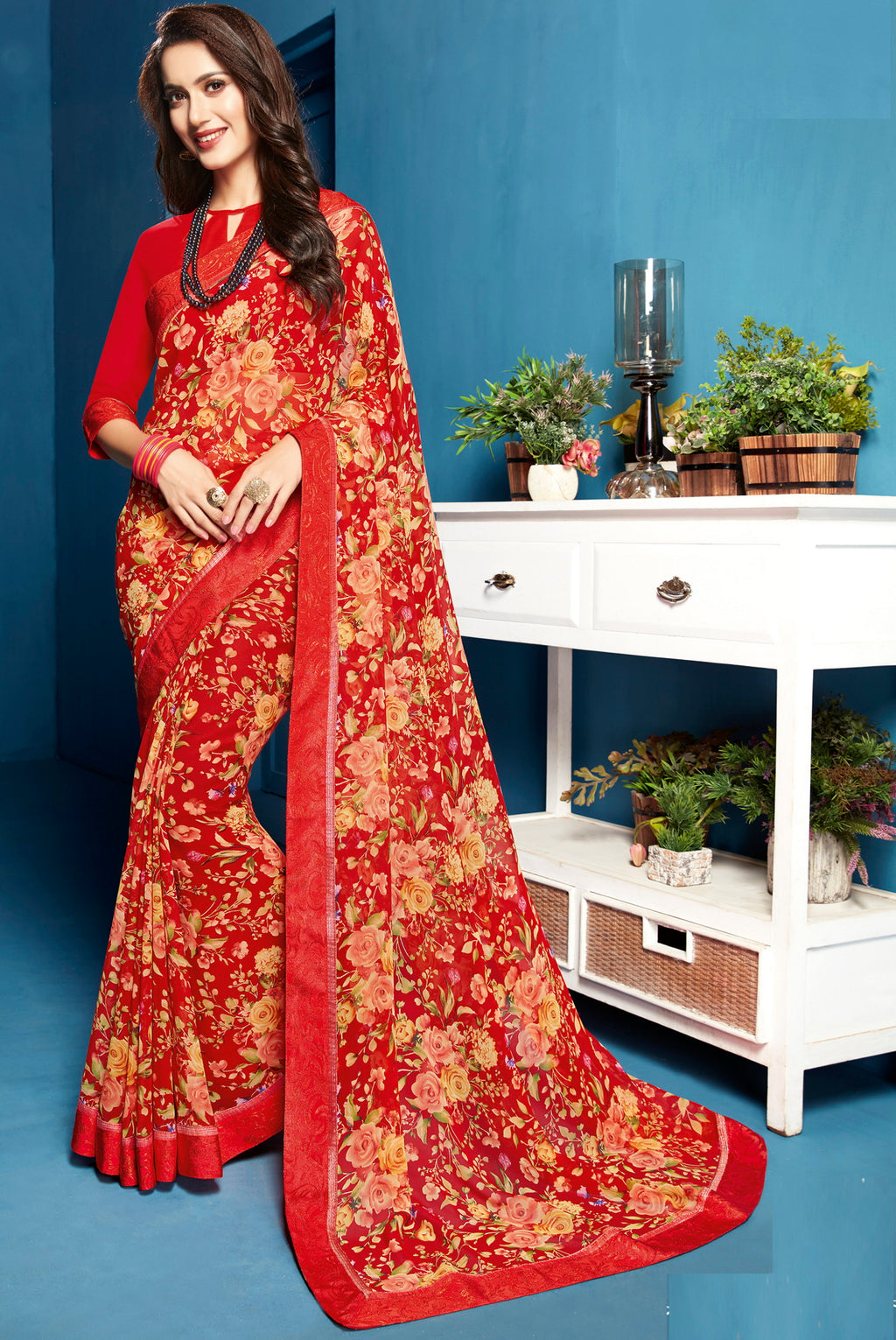 Red Color Georgette Floral Print Sarees NYF-5281