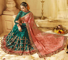 Green & Peach Color Half Wrinkle Chiffon & Half Georgette Designer Wedding Function Sarees : Saptapadi Collection  YF-52098