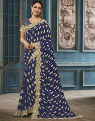 Blue Color Georgette Party Wear Sarees : Riona Collection  YF-50581