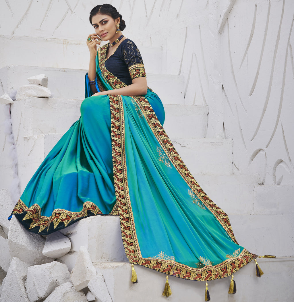 Firozi Color Two Tone Silk Exquisite Party Wear Sarees : NYF-6162